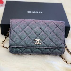 19a460c61a85 Chanel WOC iridescent black with Pearly CC hardwar